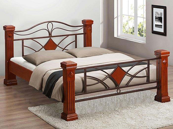Metallbett 180x200  Bett 180x200 cm Silas braun + 2x Lattenrost Massivholzbett ...